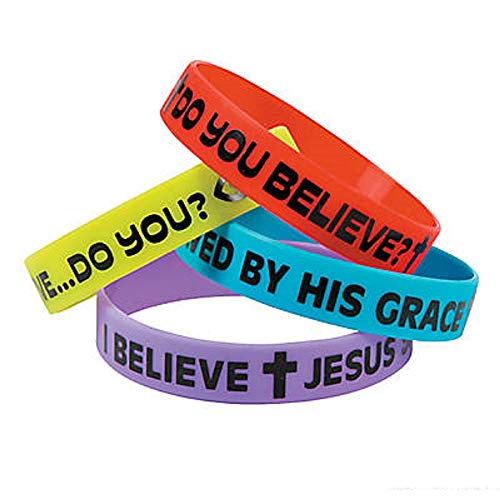 Fun Express 24 - Religious Do You Believe Sayings Rubber Bracelets - New