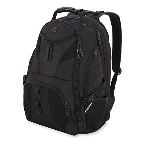 Ballistic Case Carry Nylon - SWISSGEAR Travel Gear 1900 Scansmart TSA Laptop Backpack Black/Black
