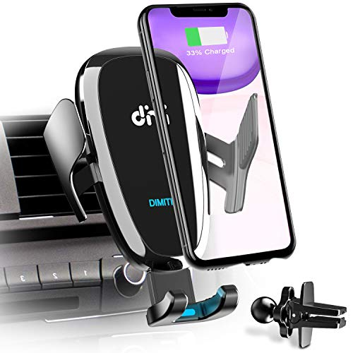 DM Car Phone Mount Air Vent Automatic Clamping Cell Phone Holder for Car Wireless Charger Built-in Battery Compatible with iPhone Xs Max/XR/XS/X/8 Plus, Samsung Galaxy S10/S10 Plus/S9/S8/S7/Note 9 10