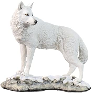 9.5 Inch Wolf on Snowy Ground Looking Back Statue Figurine, White