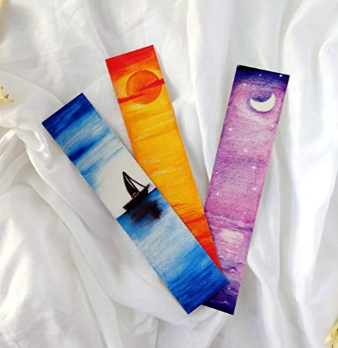 (Beautiful hand painted laminated paper bookmarks - Set of 9)