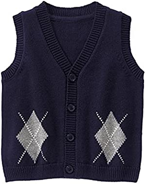 Baby Boy Navy Blue Argyle Sweater Vest