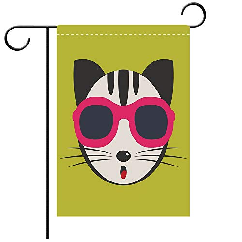 (BEICICI Double Sided Premium Garden Flag Animal Cute Kitten Wearing Pink Sun Glasses Cool Modern Hipster Cat Fashion Fun Pets Art Print Multi Best for Party Yard and Home Outdoor Decor )