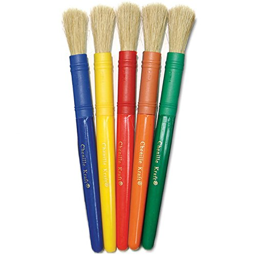(Chenille Kraft CK-5901 Stubby White Bristle Paint Brushes, 3.5