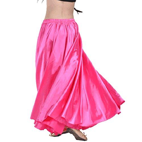Wuchieal Women's Belly Dance Satin Skirt Full Circle Long Sexy Dancing Costume Lady dress Dark Pink