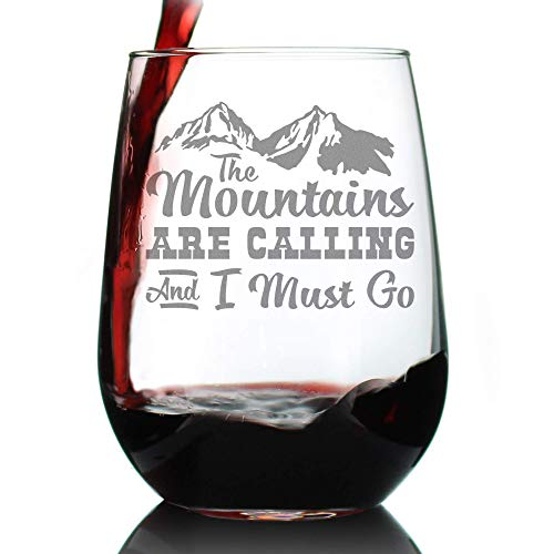 Mountains Are Calling - Cute Funny Stemless Wine Glass, Large 17 Ounces, Etched Sayings, Gift Box