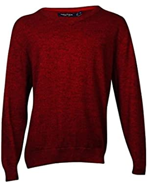 Cotton V-Neck Sweater, Ribbon Red