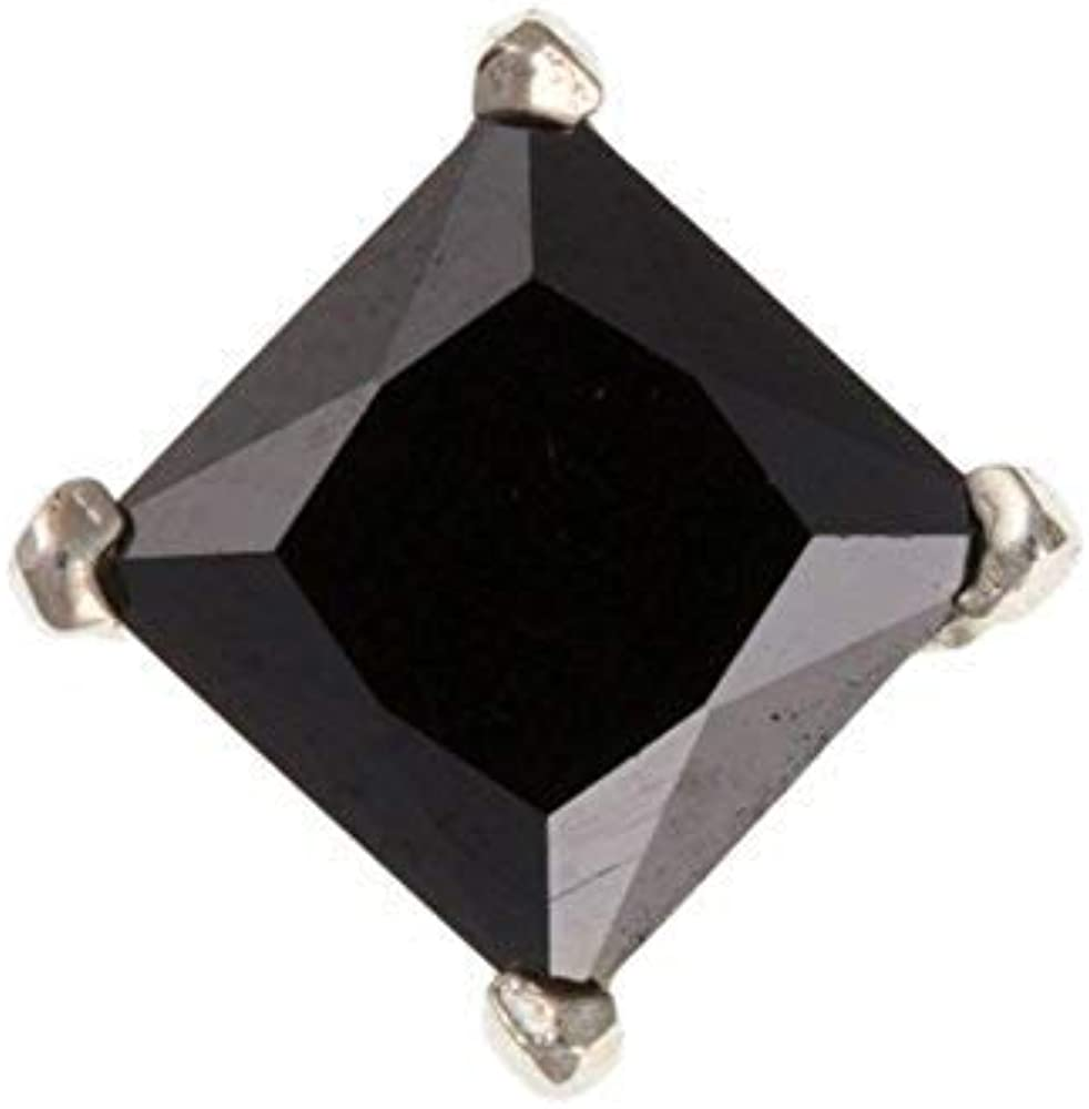 British Made Sterling Silver 6mm Square Mens Black Cubic Zirconia Stud Earring
