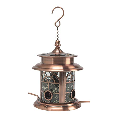 Sun-Ray 811017 Arch Inlay Solar Lighted Bird Feeder Hanging Lantern -Copper