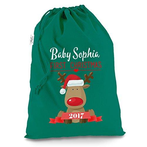 Personalizado del bebé Primera Navidad Rudolph X-Large Verde Bolsa para saco de Papá Noel Mail Post de Navidad