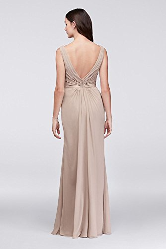 David's Wrap Faux Style F19585 Chiffon Bridesmaid Bellini Bridal Pleated Dress xgT7HBg