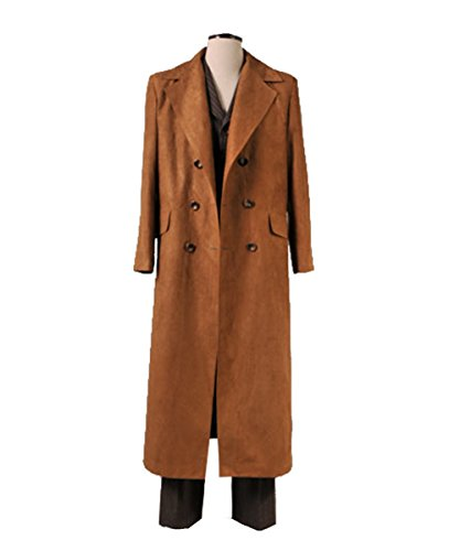 Adults 13th 12th 11th Doctor Series Coat Costume for Halloween (Men XXL, 10th Brown -