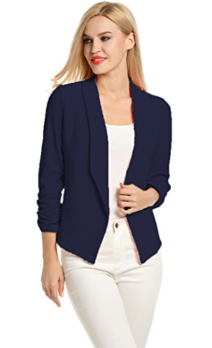 POGT Women 3/4 Sleeve Blazer Open Front Cardigan Jacket Work Office Blazer (XL, Navy Blue)