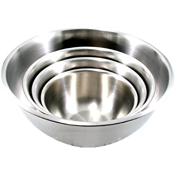 (Set of 4) Large ChefLand Stainless Steel Mixing Bowls Standard Weight, Mirror Finish, 13, 16, 20, and 30 Qt.