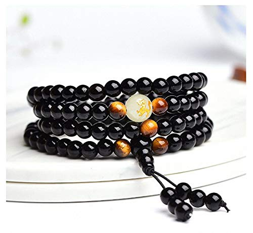 Dragon Black Buddha Beads Bangles & Bracelets Handmade Jewelry Ethnic Glowing in The Dark Bracelet for Women or Men 8mm