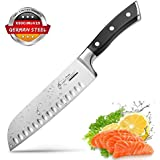 Santoku Knife Kitchen Knife Professional Japanese Chef Knife, 7 Inch Sharp Blade with Hollow Edge, Full Tang Forged by German HC Stainless Steel with Ergonomic Handle