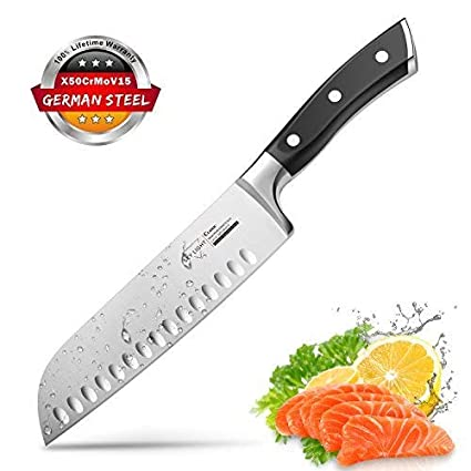 Santoku Knife Kitchen Knife Professional Japanese Chef Knife 7 Inch Sharp Blade With Hollow Edge