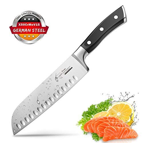 (Santoku Knife Kitchen Knife Professional Japanese Chef Knife, 7 Inch Sharp Blade with Hollow Edge, Full Tang Forged by German HC Stainless Steel with Ergonomic Handle)