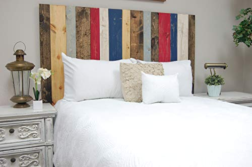(Americana Mix Headboard Full Size, Hanger Style, Handcrafted. Mounts on Wall. Easy Installation)