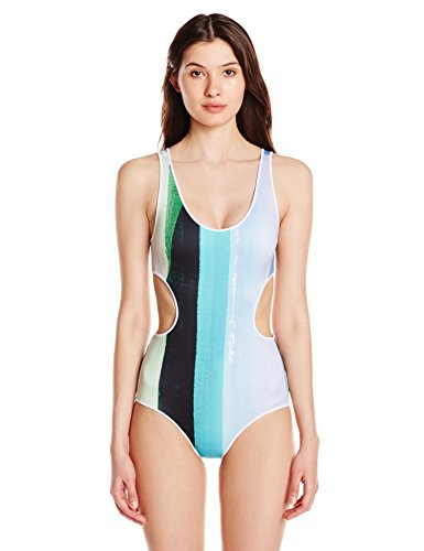 Clover Canyon Women's Striped Eclipse One Piece Swimsuit, Blue, Small