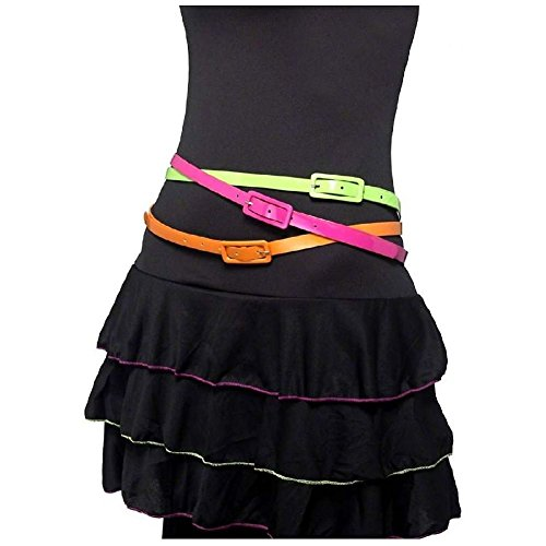 Retro 80s Neon Belts Adult Womens Halloween Costume Accessory