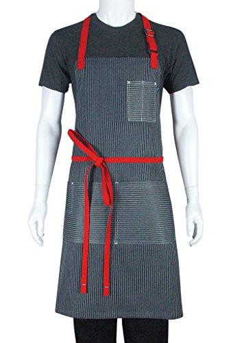 10oz apparel Crossbar Gray-White Stripe Apron Unisex Bib Apron