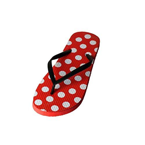 Chanclas Mujer,Xinan Fracasos de Tirón Slip-On Sandalias Planas de los Deslizadores Rojo