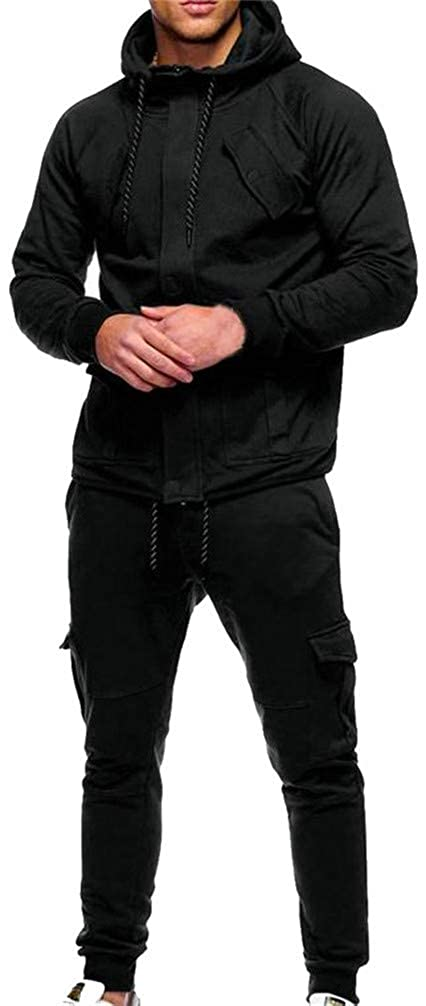 Mocilation Mens Solid Pocket 2 Piece Hoodid Drawstring Sweatshirts Tracksuit