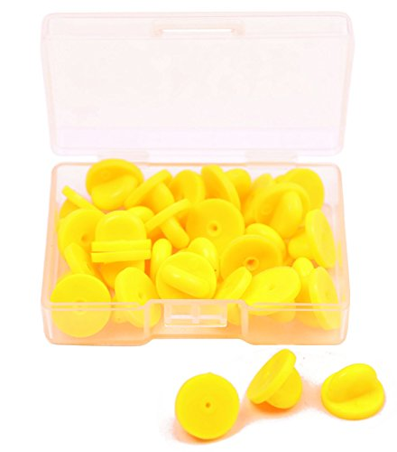 Shapenty 30PCS Butterfly Clutch PVC Rubber Pin Backs Keepers Replacement Uniform Badge Comfort Fit Tie Tack Lapel Pin Backing Holder Clasp (Yellow)