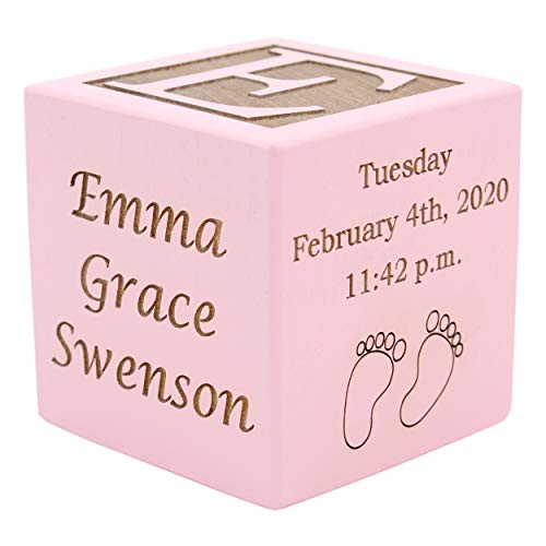 Personalized Wood Baby Birth Block, Choose from 3 Sizes, New Baby Gifts, Gifts for Baby Girl, Newborn Gifts (2″ Pink)