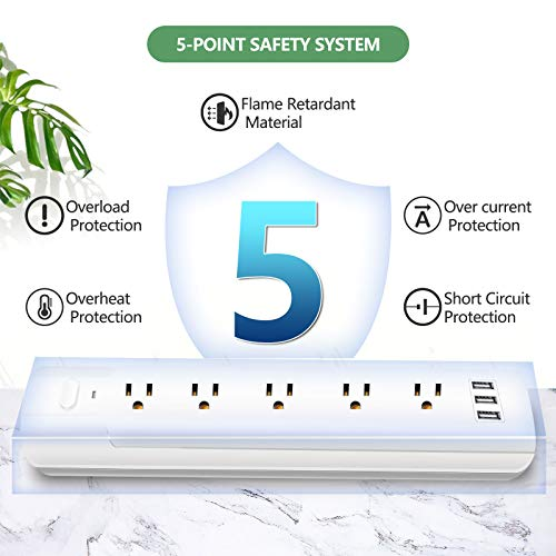 WANDOFO 5-Outlet 2 Prong Power Strip Surge Protector, Polarized 2 Prong to 3 Prong Outlet Adapter, 6ft Heavy Duty Long Extension Cord, 5V3.4A USB, Ideal for Non-Grounded Outlets, White