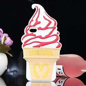 Mini - Ice Cream Pattern Silicone Case Soft Case for iPhone 4/4S , Color: White