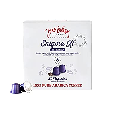 50 Jones Brothers Nespresso Compatible Coffee Capsules - Premium Quality 100% Pure Arabica - (ENIGMA - RISTRETTO, INTENSITY:8, Count:50 Pods)