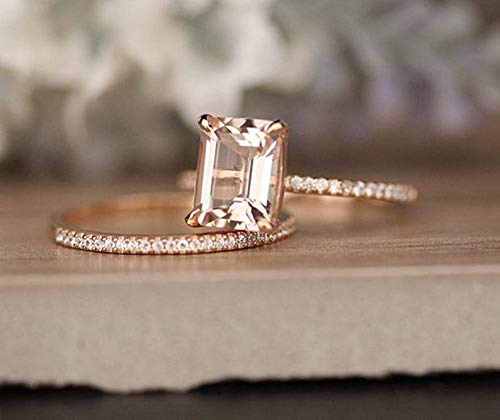 (7x9mm Emerald Cut Morganite Engagement Ring Diamond Wedding Band Solid 14k Rose Gold Bridal Set Solitaire Bridal Set Women Promise Anniversary Gift for Her)