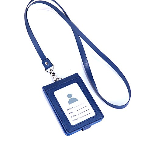 ID Case With Lanyard Blue Leather Card Case Holder 70g Case