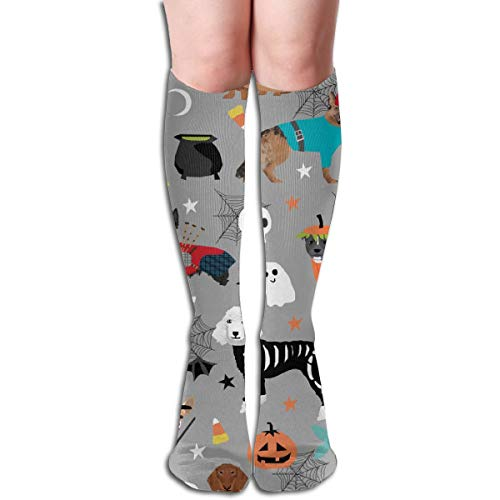 Dogs In Halloween Costumes Dog Breeds Dressed Up Fabric Grey Unisex Comfortable Crew Socks Athletic Casual Sock Best for Running, Athletic Sports, Flight Travel]()