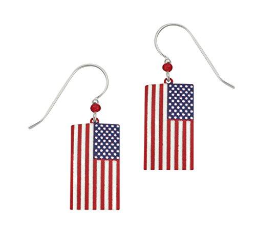 Artisan Sienna Sky Flag Hand-painted Stars 'n Stripes Earrings with Gift Box