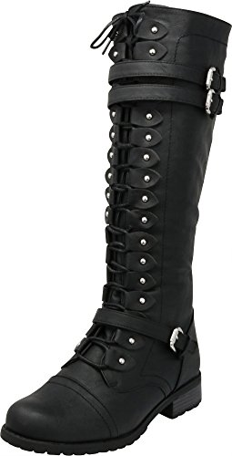 - Cambridge Select Women's Lace-Up Strappy Knee High Combat Stacked Heel Boot,10 M US,Black Pu