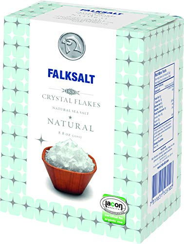 FALKSALT Natural Mediterranean Sea Salt Flakes 8.8oz (Comparable to Maldon) Great for Meat, Poultry, Seafood, Pasta, Veggies, Sweets, & Cocktails. Use as a Premium Finishing Salt ()