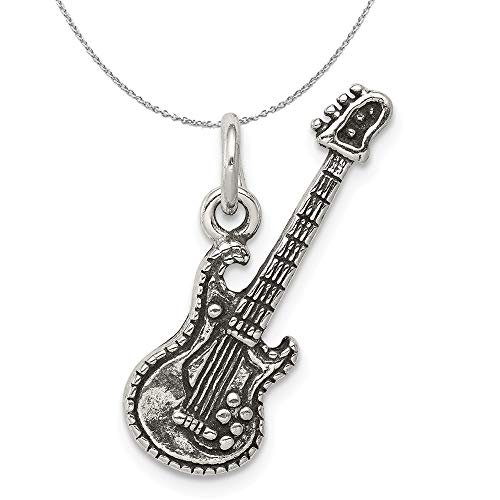 Sterling Silver 3D Antiqued Electric Guitar Necklace - 20 Inch ()