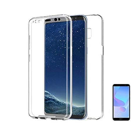 PLANETMOVIL Huawei Y6 2018//HONOR 7A Funda Carcasa Doble Cara 360 de Silicona Delantera + Trasera TPU rigido Doble 100% Transparente Dos Caras Funda ...