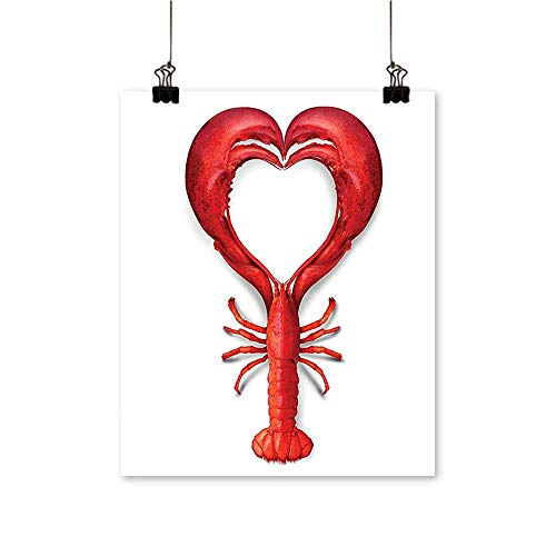 Canvas Wall Art A Boiled Lobster Shaped as A Heart Symbol Fish Dinner Seafood Love for Bathroom Home,20