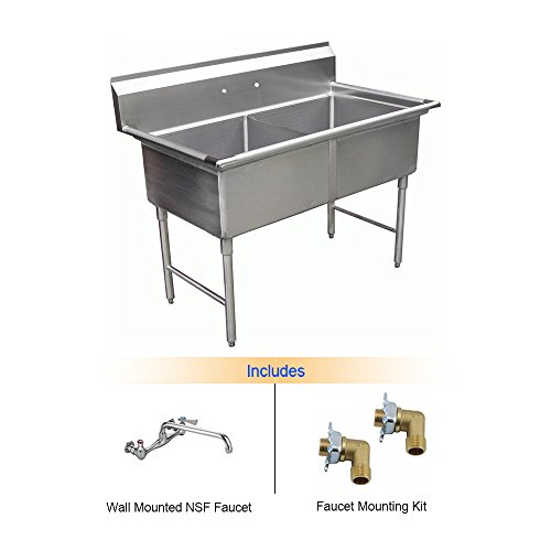 EquipmentBlvd 2 Compartment Stainless Steel Commercial Food Prep ...