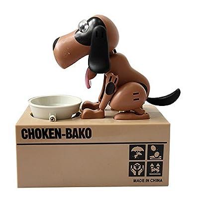 Qiyun Choken Puppy Hungry Eating Dog Coin Bank Money Saving Box Piggy Bank : Baby