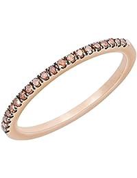 Round Cognac Diamond Half Eternity Stackable Ring
