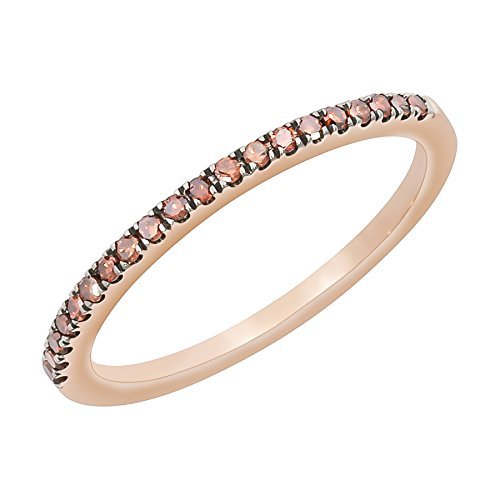 Prism Jewel Round Cognac Diamond Half Eternity Stackable Ring in 10k Rose Gold, Size - Stackable Ring Eternity Round
