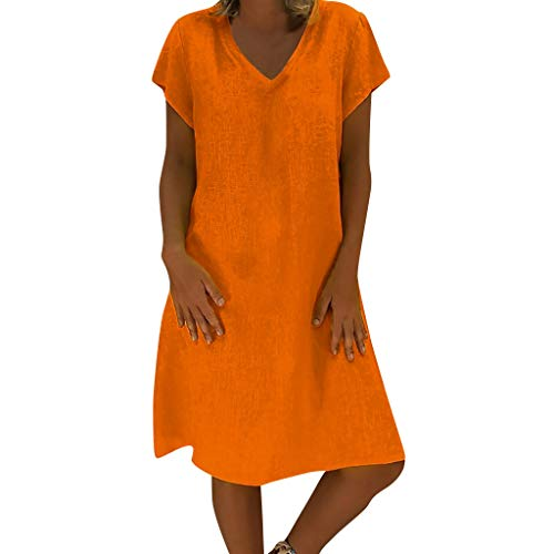 Sunhusing Ladies Summer Solid Color Comfortable Linen Short Sleeve Dress Loose Casual Plus Size Dress Orange