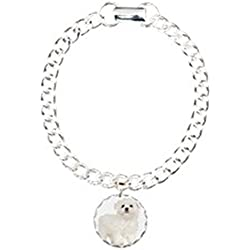CafePress - Maltese Puppy - Charm Bracelet with Round Pendant
