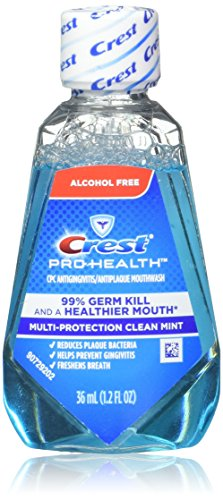 (Crest Pro-Health Mouthwash, Alcohol Free, Multi-Protection Clean Mint 1.2 oz (Pack of 18))
