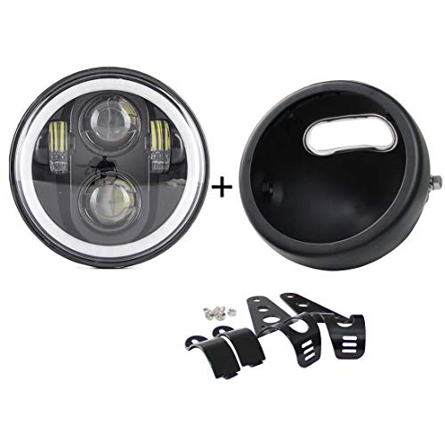 SKTYANTS 5.75 inch headlight housing bucket with 5.75 inch Led headlight with White halo angel eye for Har ley Sportsters Touring